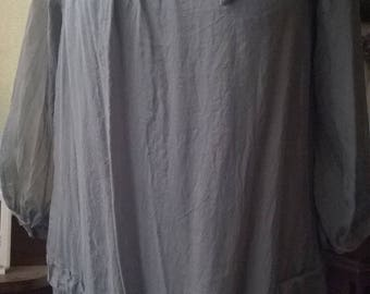 Embroidered gray silk tunic