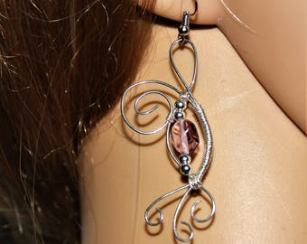 Scrolls and swirls silver earrings with glass bead