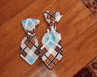 Diagonal plaid dots Dog neck Tie
