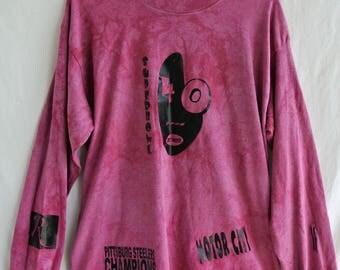 Vintage 1996 Motor City Super Bowl 40 Tie Dye Long Sleeve Shirt