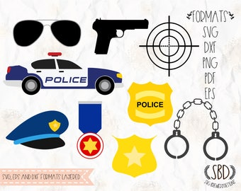 Police set, handcuffs, badge, gun, car SVG (layered), PNG, DXF for cricut, silhouette studio, cut file, vinyl decal, t shirt design