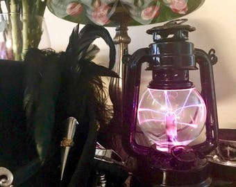 Black Lantern, Gothic, Steampunk Plasma Globe, Victorian, portable steampunk nightlight, Raven, Steampunk Cosplay