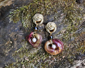 Handmade Tulip Petals with Vintage Buttons & Czech Glass Beads Earrings