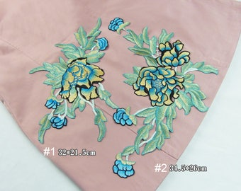 Embroidery Flower Green Appliques Clothing Patches