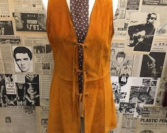 Vintage 1960s 1970s Rust Orange Suede Lace up Tunic Waistcoat Vest Jacket Hippie Boho Approx UK Size 12 FREE WORLDWIDE Postage