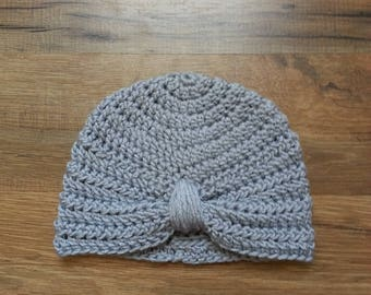 Silver 0-3 month old baby turban