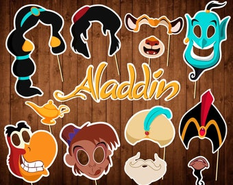 Aladdin Photo Booth Props - Printable PDF - Indian Princess Photo Props - INSTANT DOWNLOAD - Jasmine - Abu - Genie - Aladdin Masks