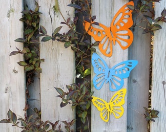 Metal Butterflies set of 3 wall art