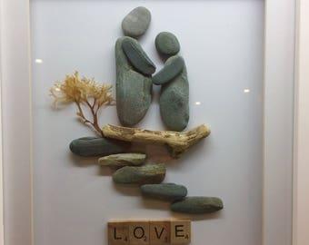 Pebble Art - couple in love