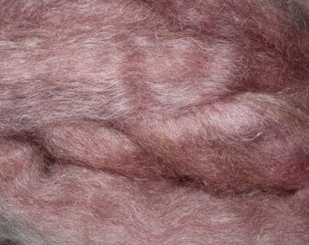 Rose Quartz exotic mohair / alpaca / wool blended roving, 3oz skeins