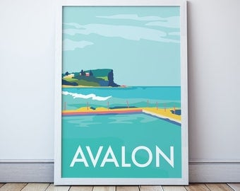 Avalon Vintage Style Seaside  Travel Print/ Poster