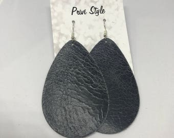 Morning Fog  Leather Earring