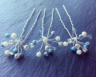 Swarovski Hair Pins - BLUE set of 3