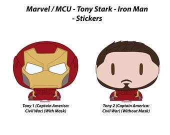 Tony Stark / Iron Man - Chibi Head Stickers