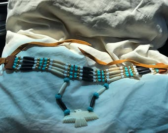 Handmade Native American Buffalo Bone Turquoise Beads Art Glass Necklace with Thunderbird Pendant