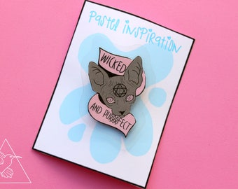 Sphynx cat brooch/ wicked and purrfect/ tattoo style