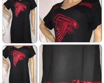 ON SALE Falcons Glitter Dress | Atlanta Falcons dress | Falcons Glitter tshirt dress | Atlanta Falcons v neck glitter dress