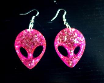 Neon Pink Opal Alien Earrings