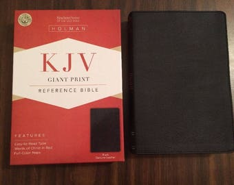 PERSONALIZED ** KJV Giant Print Reference Bible - Black Genuine Leather ** Custom Imprinted