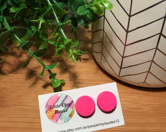 Hot Pink Clay Studs