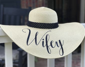 WIFEY STRAW FLOPPY Hat, tan, Customized Hat, Monogrammed Beach Hat, Large Sun Hat, Personalized Gift, Personalized Hat, Wedding Gift, Bride