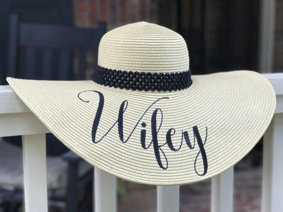 Wifey Straw Floppy Hat Tan Customized Hat Monogrammed Beach 3dca7e160de