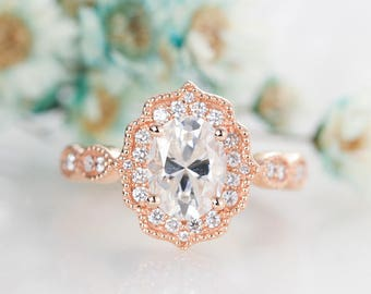 Moissanite engagement ring rose gold Vintage Art deco Brilliant  Halo diamond Wedding Oval cut women Antique Milgrain Anniversary gift