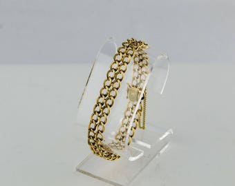 "14k Yellow Gold Bracelet 7.5"" Double Curb Chain w/ Textured Finish 22g - Charm"