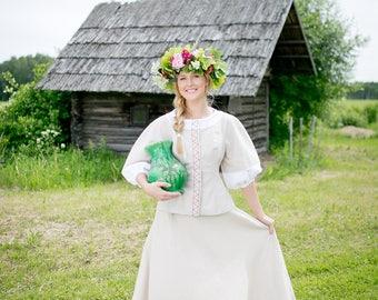 wedding linen dress, Soft linen dress, Christening linen dress, handmade linen dress, eco linen dress, eco wedding dress, Latvian folk dress