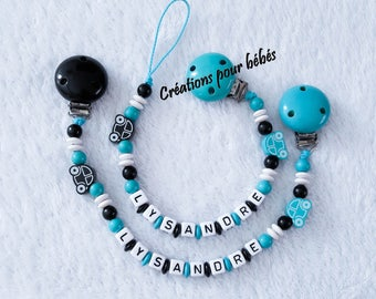 """Duo pacifier clip + binding blanket personalized with wooden beads boy """"Car"""""""