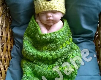 Crochet caterpillar cocoon set