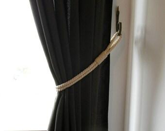 Ivory Cotton Rope Curtain Tie-backs - Holdback Curtain TieBack - Nautical Decor