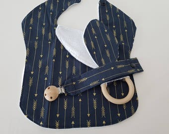 Navy and Gold design 3 piece Set - Bib, Dummy Chain & Teether ( Extra Large)