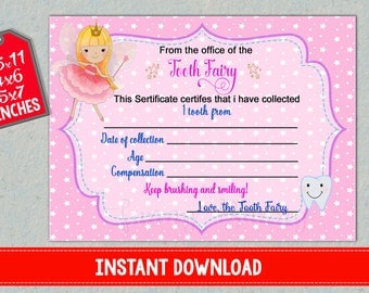 Tooth Fairy Certificate First lost teeth report printable Baby loosing receipt for girls Record instant download