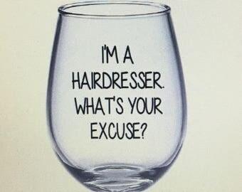 Hairdresser gift. Hairdresser wine glass. Gift for hairdresser. Salon gift. Salon wine glass. Stylist gift. Stylist wine glass.