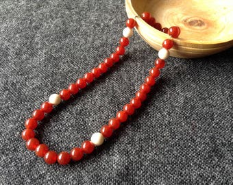 Medieval rosary, paternoster, carnelian beads