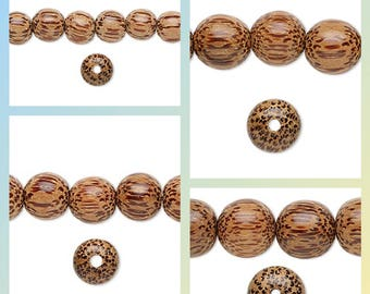 Coconut palm wood beads, 16 inch strand coconut palm wood round beads, 16 inch strand coconut palm wood round beads 4 to 20mm, coconut beads