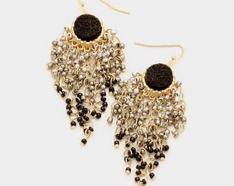 Black Druzy Seed Bead Cluster Earrings