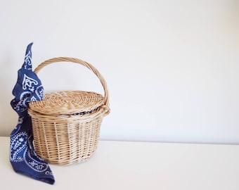 Maria Lisboa-Small Jane Birkin Basket-100% Cotton Scarf- Basket with Lid-Round Wicker Basket-Round Basket-Portuguese-La Petite Sardine