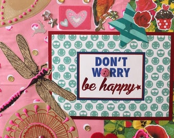 "Handmade frame ""Don't worry be happy"" 20x30cm"