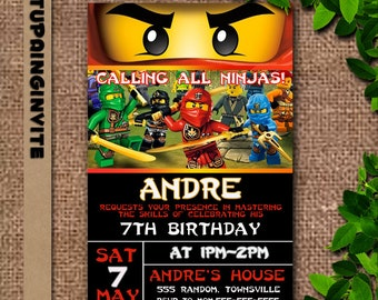 Ninjago Birthday Invitation Personalized/Ninjago Birthday Invites/Ninjago Birthday Party
