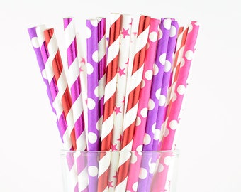 Polka Dots Stars And Striped Paper Straws Mix - Party Decor Supply - Cake Pop Sticks - Party Favor