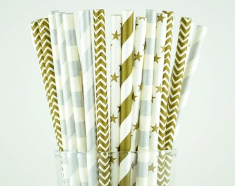 Gold And Silver Paper Straws Mix - Party Decor Supply - Cake Pop Sticks - Party Favor