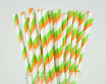 Green/Orange Striped Paper Straws - Party Decor Supply - Cake Pop Sticks - Party Favor