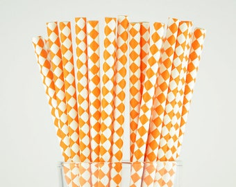 Orange Diamond Paper Straws - Mason Jar Straws - Party Decor Supply - Cake Pop Sticks - Party Favor