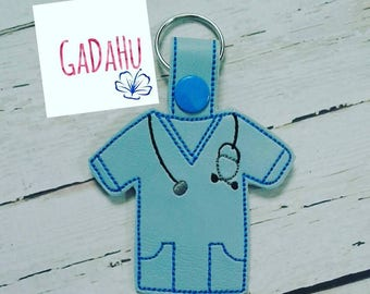Doctor Lab Coat Key Fob Snap Tab Embroidery Design 4X4 size