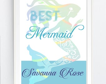 mermaid wall art print, Best MERMAId, beach, Instant DOWNLOAD,  BEAch, Mermaid party - svg, Jpg Png Printable Art, Wall Decor, Beach Print