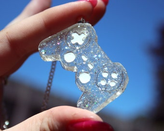 Clear with Holo Glitter Gamer Controller Pendant Necklace Playstation Style