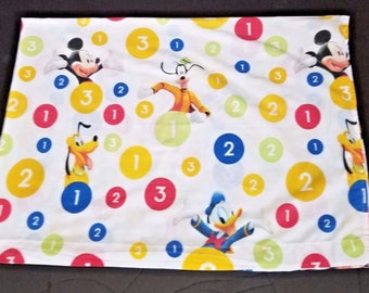 Vintage Disney Mickey Donald Ducky Pluto Goofy Number Flat Sheet Twin