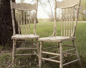 Shabby Farm House Chic Pressback Chairs